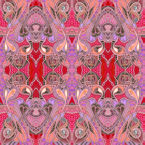 Floating Red Nouveau Romantic Diamonds with dots fabric by edsel2084 on Spoonflower - custom fabric