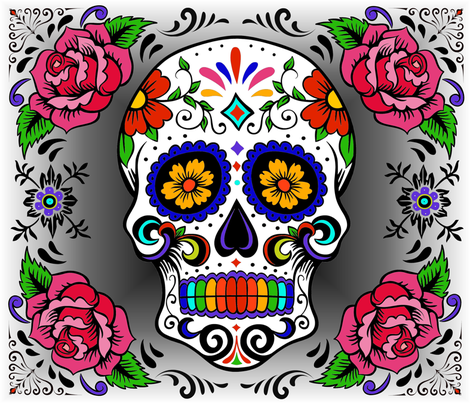 Day of the Dead fabric by lizziebdesigns on Spoonflower - custom fabric