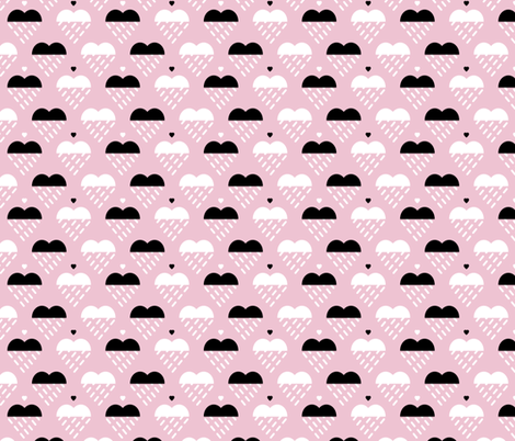 Raining clouds can become sweet hearts fabric by zapi on Spoonflower - custom fabric