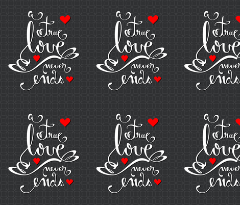 Valentine Love Calligraphy and Hearts on Dark fabric by ruxique on Spoonflower - custom fabric