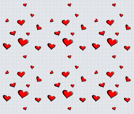 Valentine Calligraphy Red Hearts fabric by ruxique on Spoonflower - custom fabric