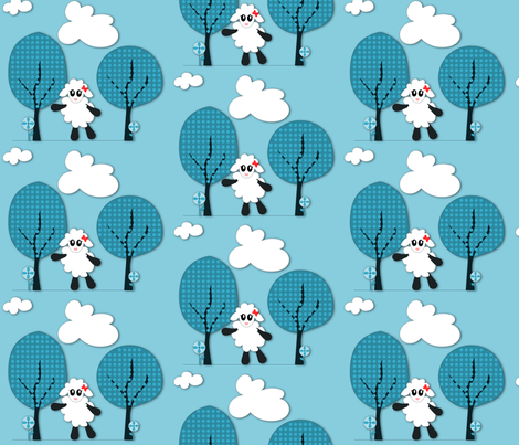 Lamby Blue fabric by ninjaauntsdesigns on Spoonflower - custom fabric