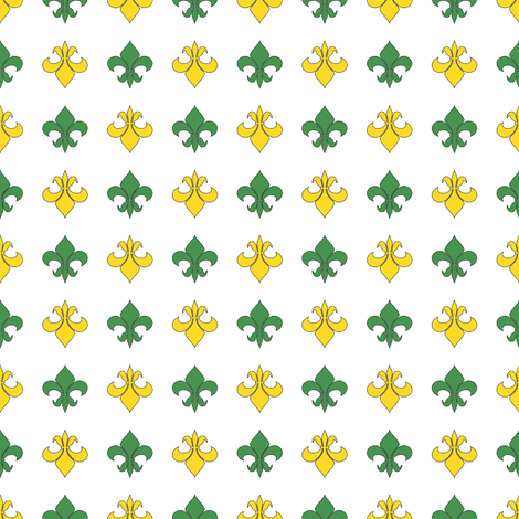 Green and Yellow Fleur De Lis fabric by empireruhl on Spoonflower - custom fabric