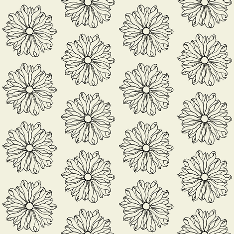 Daisy winter white and black fabric by carrie_narducci on Spoonflower - custom fabric