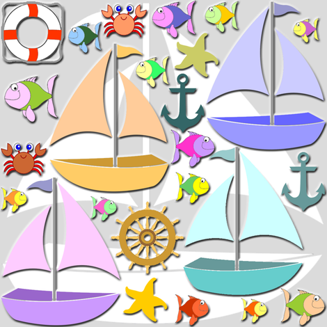 sailboats fabric by krs_expressions on Spoonflower - custom fabric