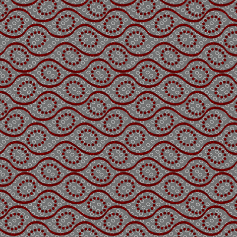 dotted_waves deep red on gray fabric by glimmericks on Spoonflower - custom fabric