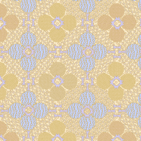netted_and_knotted blue gold peach fabric by glimmericks on Spoonflower - custom fabric