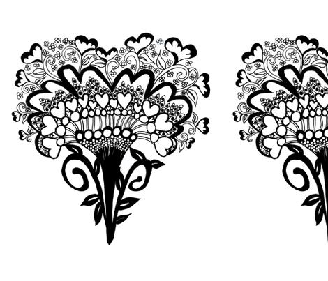 Art Deco Heart Small Repeat ©Indigodaze2013 fabric by indigodaze on Spoonflower - custom fabric