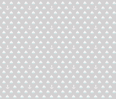Little Blue Boats - anchor fabric by plaidgoose_designs on Spoonflower - custom fabric