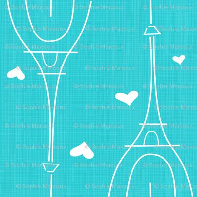 blue Paris Eiffel tower
