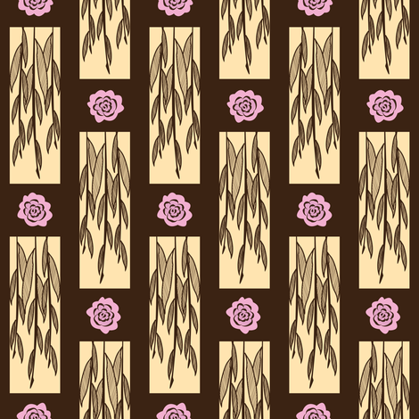 Willows & Flowers fabric by robyriker on Spoonflower - custom fabric