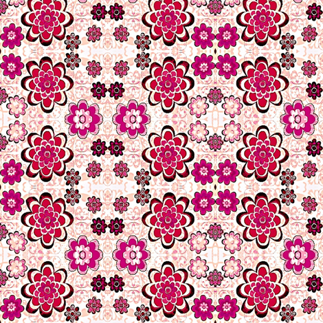 Floral pink and purple flowers sm. fabric by dk_designs on Spoonflower - custom fabric