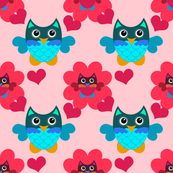 Hearts and Whimsical Owls