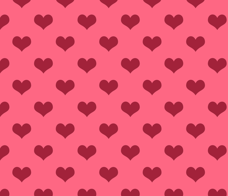 Pretty Pink and Red Hearts fabric by cherie on Spoonflower - custom fabric