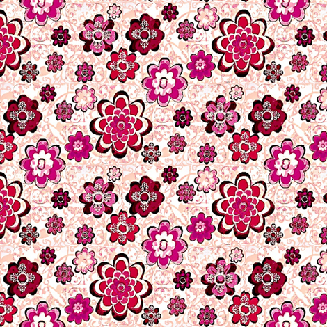 Floral pink and purple flowers 001 fabric by dk_designs on Spoonflower - custom fabric