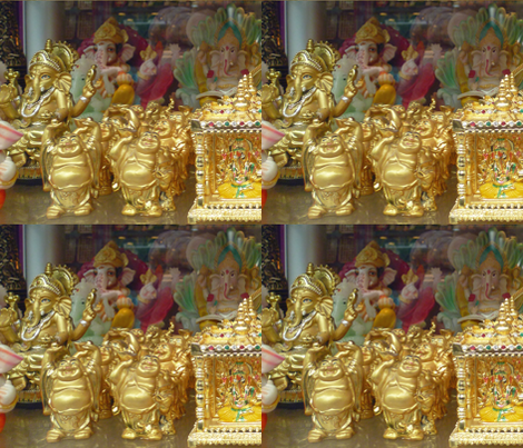 Ganeshes and Buddhas in the Window, 1 fabric by susaninparis on Spoonflower - custom fabric