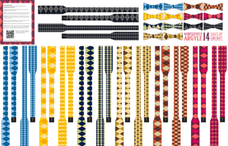 Aggressively Argyle: A collection of 7 Cut & Sew Bow-Ties fabric by lavaguy on Spoonflower - custom fabric