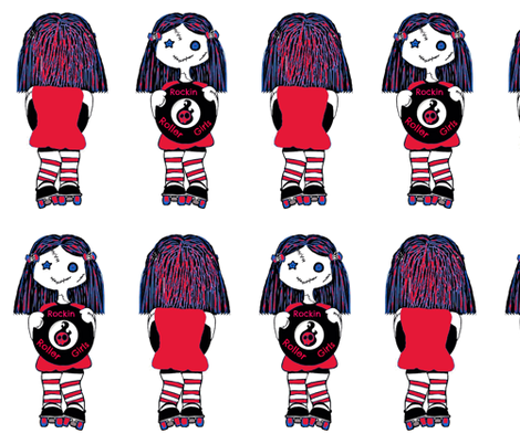 Large red rocking roller doll fabric by derbymom716 on Spoonflower - custom fabric