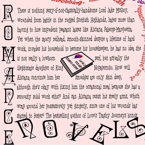 Romance Novel Reader's Fabric With Text - Humor fabric by telden on Spoonflower - custom fabric