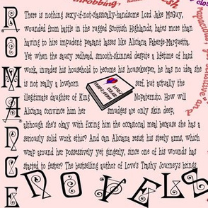 Romance Novel Reader's Fabric With Text - Humor