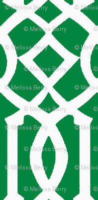 Imperial Trellis-Green/White-Large