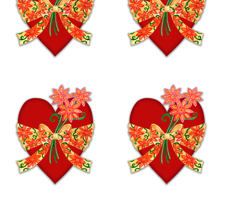 Valentine Heart with Floral Bow fabric by ljholman on Spoonflower - custom fabric