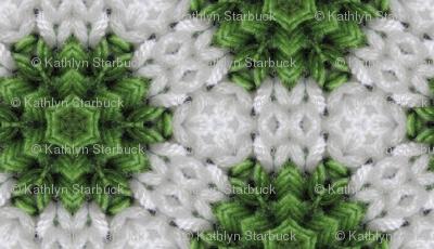 Green and white snowflake