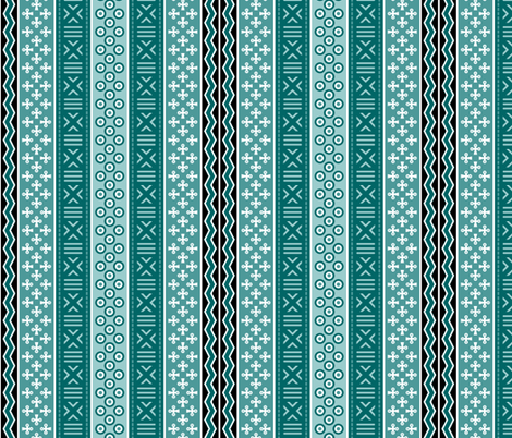 mudcloth : cyan teal oceanic fabric by sef on Spoonflower - custom fabric