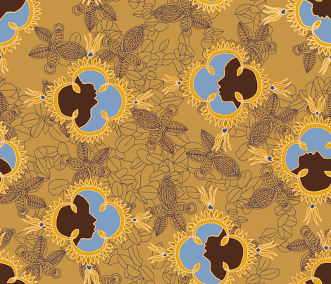African Visage Autumn Sands fabric by bloomingwyldeiris on Spoonflower - custom fabric