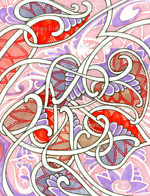Garlands of Love (pastel feminine abstract with hearts)