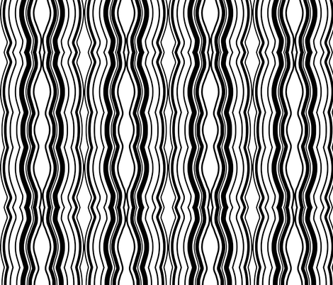 Zoom Wavy Stripes Vertical - Black and White - Large fabric by telden on Spoonflower - custom fabric
