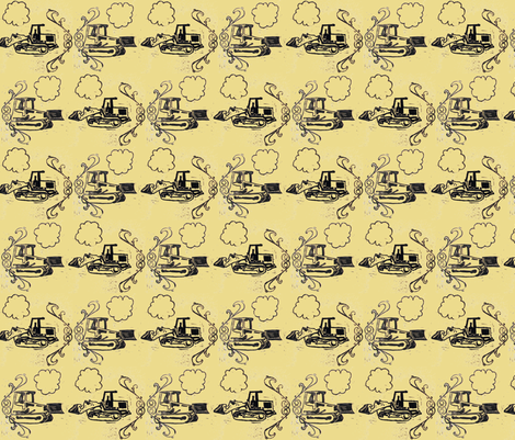 Buster and Gob Play Chicken in Yellow fabric by sparegus on Spoonflower - custom fabric