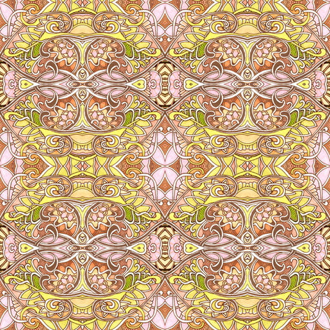 Curly Swirly Sepia Outlined Pastel Sunshine fabric by edsel2084 on Spoonflower - custom fabric