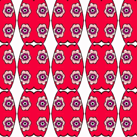 red flowered vase fabric by dk_designs on Spoonflower - custom fabric