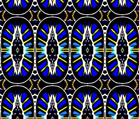 Blue African tribal painting 01 fabric by dk_designs on Spoonflower - custom fabric