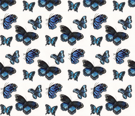 Blue Butterflies fabric by sweetlittletinkers_ on Spoonflower - custom fabric