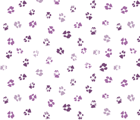 Paws Purple Fabric By Purplish On Spoonflower