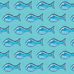 Blue fish deep-ed