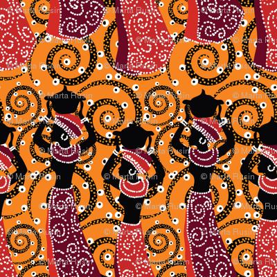African ladies on orange