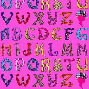 Fancy Party Monogram Alphabet Multi Initials / PINK Paris Bebe Fabrics