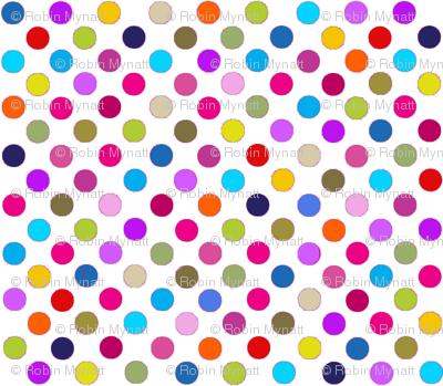 Fancy Party Dots Multi polka dots / White Paris Bebe Fabrics