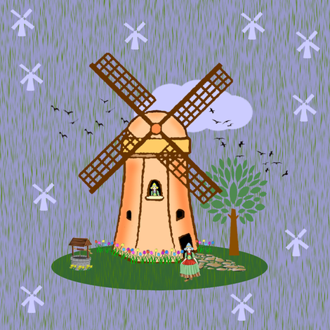 dutch windmill fabric by krs_expressions on Spoonflower - custom fabric