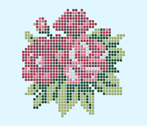 Pink pixelized roses fabric by cine on Spoonflower - custom fabric