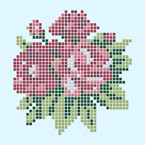 Pink pixelized roses