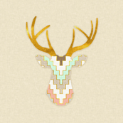 Telluride Deer in Mint and Coral