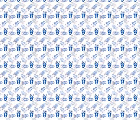 poupée_russe_twist_bleu_fond_blanc_S fabric by nadja_petremand on Spoonflower - custom fabric