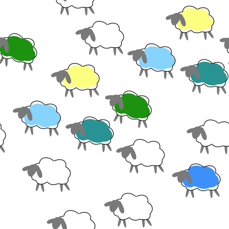 impossible sheep blue fabric by mojiarts on Spoonflower - custom fabric