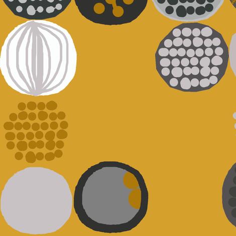 afro circles mustard fabric by katarina on Spoonflower - custom fabric