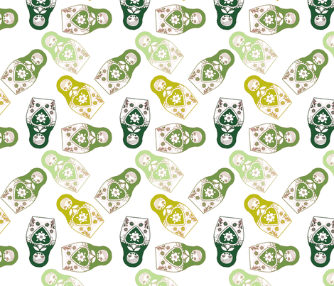 poupée_russe_twist_vert_fond_blanc_M fabric by nadja_petremand on Spoonflower - custom fabric