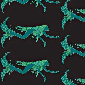Swimming Mermaids-teal/black Large